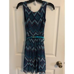 Blue patterned dress with belt